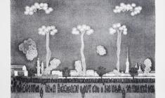 Вальцефер В.А. Праздничный фейерверк на Неве. Литография. 1982.