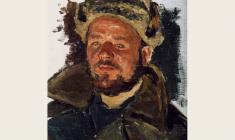 Александр Пушнин. Солдат.Этюд. Х.м.,33х24.  1951