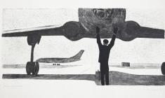 Вальцефер В.А. Регулировщик. Литография. 1963.