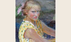 Мария Рудницкая. Девочка. Карт. м., 50х35. 1960