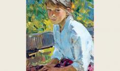 Мария Рудницкая. Девочка в саду. Карт. м., 50х35. 1964