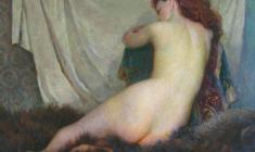 Галина Румянцева. Обнажённая модель. Х.м.,79х96. 1960