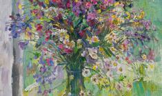Капитолина Румянцева. Цветы у окна. Х.м.,71х55. 1991