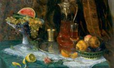 Капитолина Румянцева. Натюрморт с фруктами. Х.м.,64,5х84,5. 1965