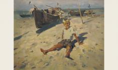 Лев Русов. Мальчик и море. Х.м.,56,5х73. 1957
