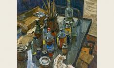 Лев Русов. Кухня. Натюрморт. Х.м.,85х75. 1979