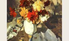 Лев Русов. Цветы на столе. Х.м.,99х75. 1957