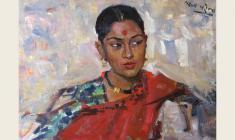 Лев Русов. Индийская девушка. Карт.м.,50х70. 1957