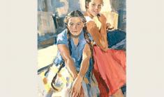 Лев Русов. Кира и Зоя. Х.м.,123х93. 1958