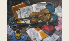 Лев Русов. Музыка и скрипка. Х.м.,60х80. 1964