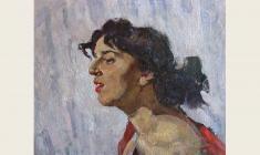Лев Русов. Портрет молодой женщины. Х.м.43х50. 1956