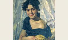 Лев Русов. Портрет молодой женщины. Х.м.,70х56. 1957