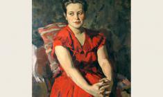 Лев Русов. Портрет молодой женщины в красном. Х.м.,98,5х74,5.1056
