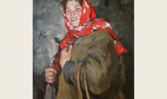Лев Русов. Портрет колхозницы. Х.м.,100х75. 1956