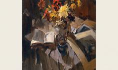 Лев Русов. Натюрморт с букетом. Х.м.,128х100. 1959