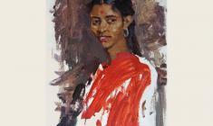 Лев Русов. Студентка из Индии. Дер.м.,72х51. 1957