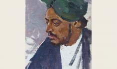Лев Русов. Молодой индиец в тюрбане. Карт.м.,49,5х35. 1957