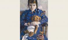 В. Селезнёв.  Девочка с мишкой. Х.м.,75х40. 1962