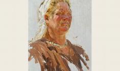 А. Соколов. Колхозница. Х.м,40х27,5. 1950
