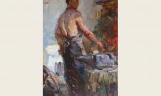 Александр Соколов.  Кузнец. Карт.м. 35х24,5. 1952