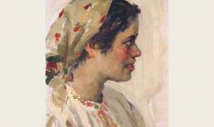 А. Соколов. Девушка в платке. Карт.м.,35х24,5. 1952