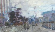 Александр Соколов. Магнитка. Х.м.,27х34,8. 1968