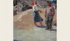Александр Соколов. На молотилке. Х.м.,39х39. 1952