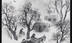 """Халида Шимова. Диптих """"Падающий снег"""". Шелк, тушь, 50х50. 2008"""