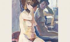 А. Шмидт. Обнажённая модель перед зеркалом. Бум.м., 37,5х30. 1952
