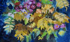 Н. Штейнмиллер. Осенний букет. Карт.м., 75,8х52. 1962