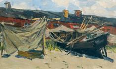 Н. Штейнмиллер. Лодки на берегу. Х.м., 18.5х29. 1951