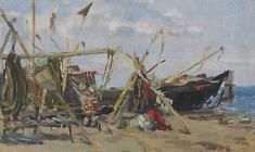 Н. Штейнмиллер. Рыболовные снасти. Х.м., 18,5х29,5. 1951