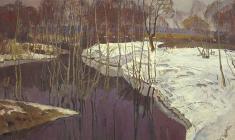 Г. Татаринов.  Черная вода.  Карт.м.,50х69,5. 1968
