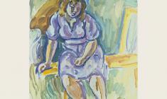 В. Тетерин.  Девушка в сиреневом.  Х.м., 89х70. 1979