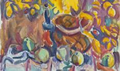 В. Тетерин.  Яблоки, бутылка и корзина.  Х.м., 64х76.  1983