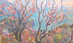 В. Тетерин.  Цветущий миндаль на фоне моря.  Х.м.,81х107. 1981