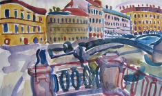 В. Тетерин. Канал Грибоедова у Сенной площади.  Бум.,акв, 50х64,5. 1969