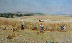 В. Тетерин.  Сбор урожая. Х.м., 47х61,5. 1950