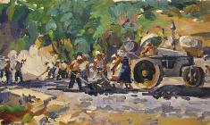 В. Тетерин.  Дорожные работы.  Х.м., 40,5х70. 1958