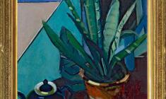 Арсений Семёнов (1911 - 1992). Натюрморт с цветком. Х.м., 65,5х45,5.1972. Цена по запросу. Arseny Semionov. Stil-life with a Window Plant. Oil on canvas. Price on request. 阿尔谢尼  谢蔑诺夫