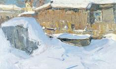 Александр Семёнов. Дворик в Старой Ладоге. Карт.м.,50х70. 1974