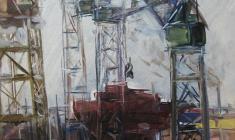 Арсений Семёнов. Нева индустриальная. Карт.м.,49,7х34,3. 1959