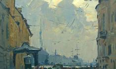Александр Семёнов. Дождливый день. Карт.м.,60х60. 1977