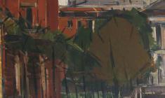 Арсений Семёнов. У Михайловского замка в Ленинграде. Х.м.,67,5х58. 1970
