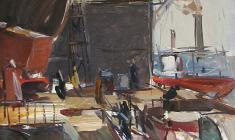Арсений Семёнов. На корабельной верфи. Карт.м.,48,5х34,7. 1960