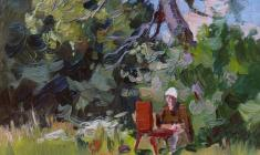 Александр Семёнов. На этюдах. Карт.м.,35х25. 1951