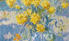 Б. Шаманов. Сентябрьские цветы. Х.м., 78х66. 1991