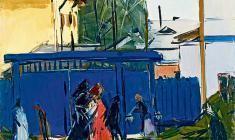 Арсений Семёнов. Синие ворота во Пскове. Карт.м.,35х48,5. 1958