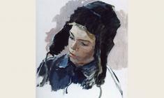 Татьяна Копнина. Мальчик в шапке.  Карт.м.,47х35. 1962