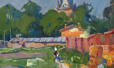 Александр Семёнов. Башня Шапель в Пушкине. Х.м.,34х36. 1970